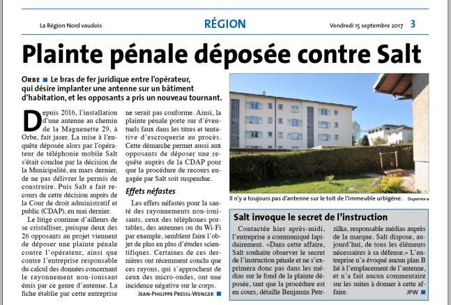 Article de La Région du 15.09.2017