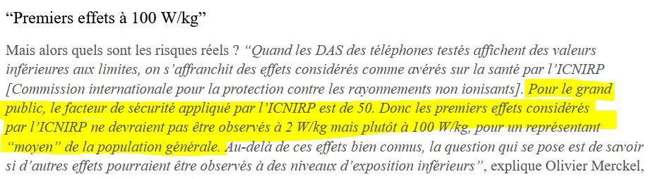 Premiers effects a 100 W/kg - ICNIRP
