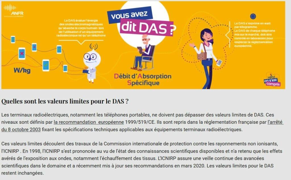 Quelles sont les valeurs limites pour le DAS? - disparu ?